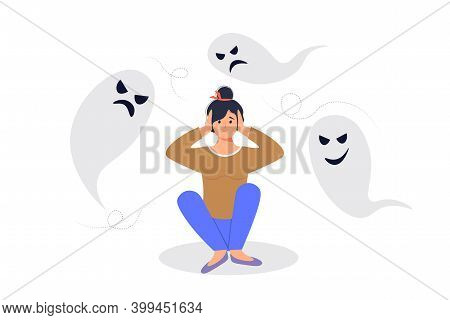 Anxiety Or Fears Concept. Negative Thoughts Around The Woman. The Female Character Covered His Ears