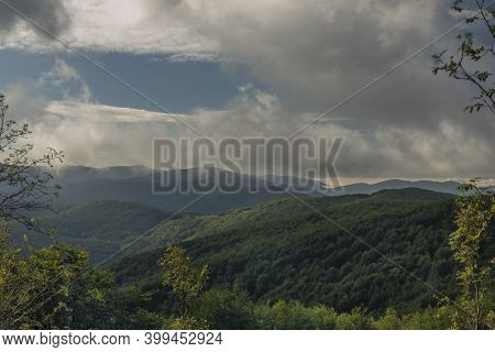 View From Ridge Of Poloniny National Park In Summer Sunny Morning With Inversion