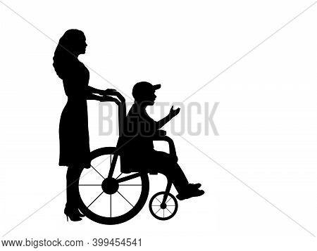 Silhouettes Of Woman Walking Child Boy In Wheelchair. Illustration Symbol Icon