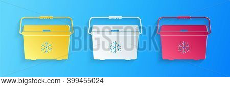 Paper Cut Cooler Bag Icon Isolated On Blue Background. Portable Freezer Bag. Handheld Refrigerator.