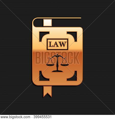 Gold Law Book Statute Book With Scales Of Justice Icon Isolated On Black Background. Long Shadow Sty