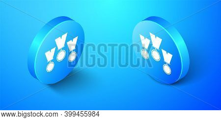 Isometric Medal Set Icon Isolated On Blue Background. Winner Simbol. Blue Circle Button. Vector