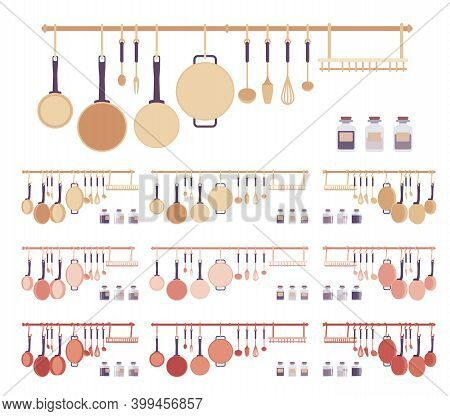 Home Kitchen Utensil Set, Cookware And Cooking Objects. Pans Steel Pieces, Tools, Useful Accessories