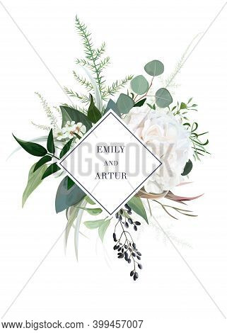 Elegant Vector Floral Watercolor Style Wedding Invite, Greeting Card. Ivory White Rose Flower, Wax F