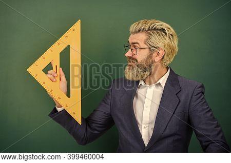 Passionate About Math. Mathematics And People Concept. Mathematics Favorite Subject. Man Teacher Use