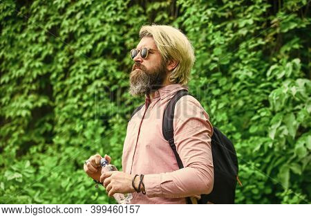 Healthy Lifestyle. Summer Heat. Drinking Clear Water. Safety And Health. Water Balance. Man Bearded