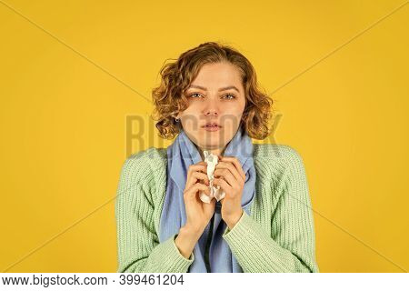 I Feel Cold. Holding Handkerchief To Her Runny Nose. Concept Of Treating Allergies Or Colds. Runny N