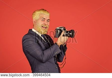 Vintage Style Trend. Classy And Old School. Content Creator. Man Cheerful Bearded Hipster Photograph