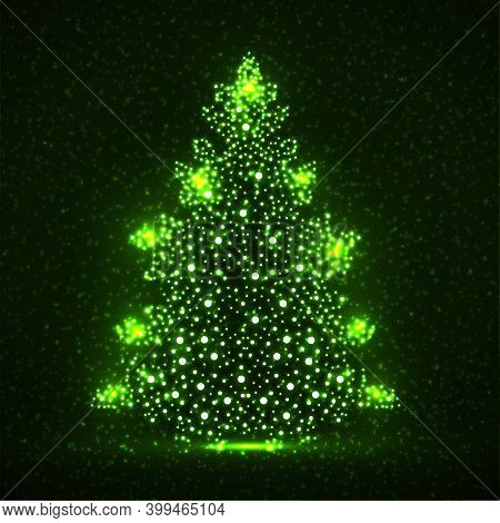 Abstract Neon Christmas Tree With Glowing Particles