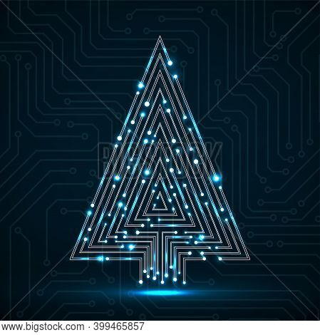 Abstract Technology Christmas Tree Made From Circuit Board