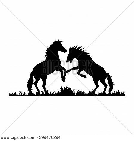 Stallions, Fighting Horses Wildlife Stencils - Forest Silhouettes Vector