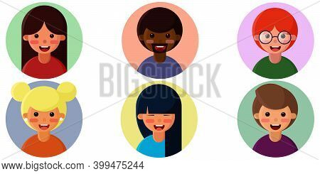 A Set Of Avatars Of Smiling People Of Different Nationalities, Including Men And Women. 6 Icons. Car