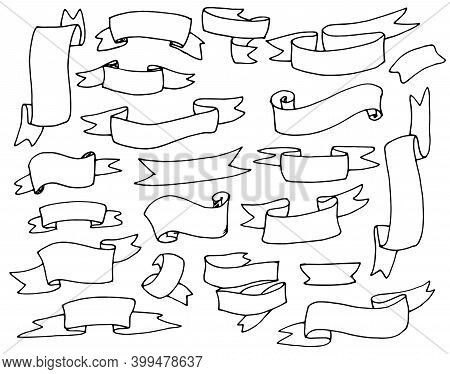 A Hand-drawn Doodle-style Set Of Different Ribbons. Design Elements Of Greeting Cards, Banners, Invi
