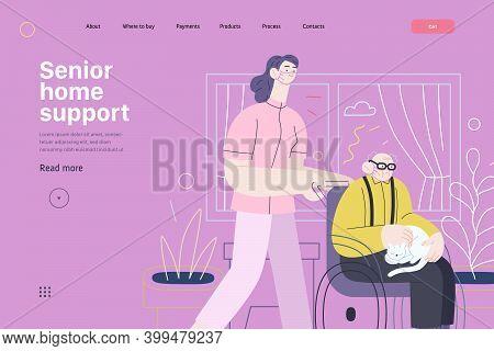 Medical Insurance - Senior Home Support - Modern Flat Vector Concept Digital Illustration -a Nurse R