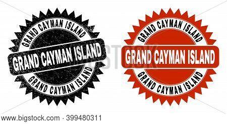 Black Rosette Grand Cayman Island Seal. Flat Vector Distress Seal Stamp With Grand Cayman Island Cap