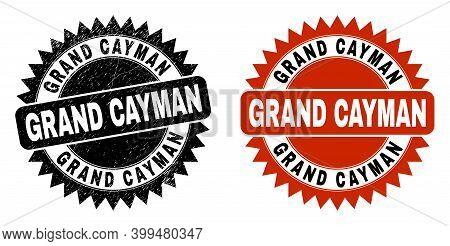 Black Rosette Grand Cayman Watermark. Flat Vector Scratched Watermark With Grand Cayman Caption Insi