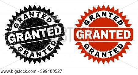 Black Rosette Granted Seal Stamp. Flat Vector Grunge Seal Stamp With Granted Message Inside Sharp Ro