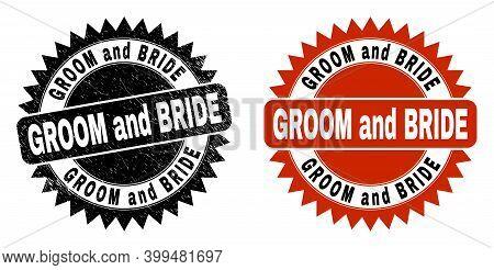 Black Rosette Groom And Bride Seal Stamp. Flat Vector Scratched Seal Stamp With Groom And Bride Phra