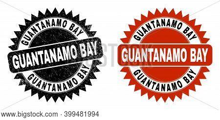 Black Rosette Guantanamo Bay Seal Stamp. Flat Vector Textured Seal Stamp With Guantanamo Bay Caption