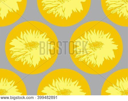 Geometric Floral Seamless Pattern With Chrysanthemum Ultimate Gray On Yellow Illuminating Rounded Sh