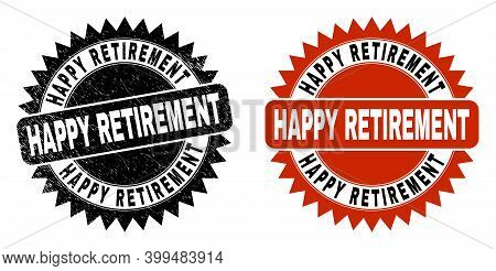 Black Rosette Happy Retirement Stamp. Flat Vector Distress Seal Stamp With Happy Retirement Phrase I