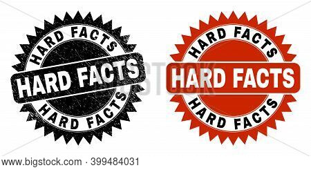 Black Rosette Hard Facts Watermark. Flat Vector Distress Watermark With Hard Facts Message Inside Sh