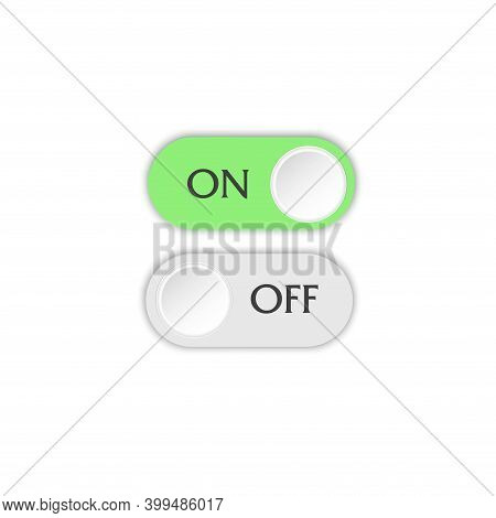 On And Off Button.  Toggle Switch. The Position Is Active And Not Active. Template For Website Appli