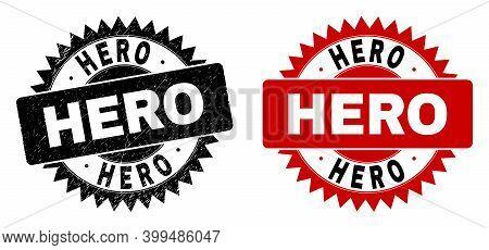 Black Rosette Hero Watermark. Flat Vector Grunge Watermark With Hero Message Inside Sharp Rosette, A