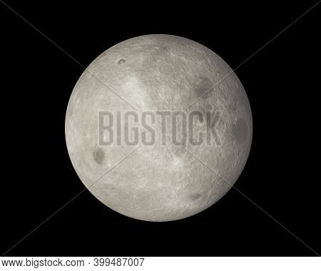 The Reverse Side Of The Moon. Full Moon On Dark Night Sky Background, With Craters And Surface Detai