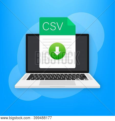Csv File Icon With Laptop. Spreadsheet Document Type. Modern Flat Design Graphic Illustration. Vecto