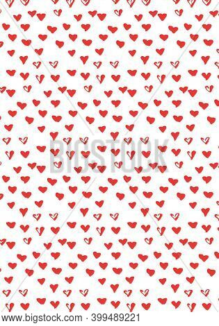 Abstract illustration of multiple tiny red hearts in seamless pattern against white background. illustrations with seamless pattern background concept