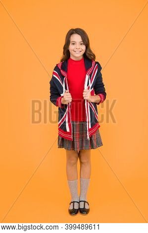 Patriotic Kid With English Flag On Jacket. Go Study To England. Learn English Language. British Scho