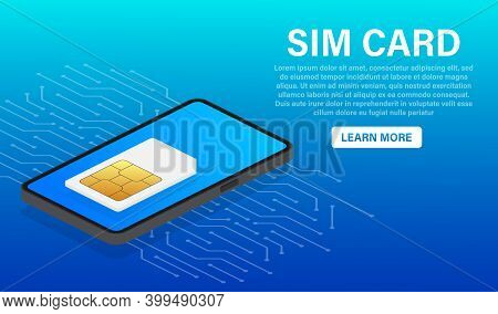 Sim Card Chip On Blue Background. Vector Template. Communication Icon Symbol.