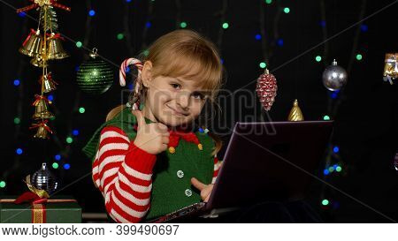 Child Looking For Presents, Gift For Friends And Family, Doing Shopping Online Using Laptop Isolated