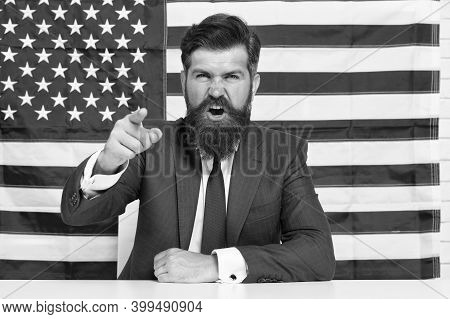Every Vote Matters. National Holidays. Celebration Of Victory. Bearded Hipster Man Being Patriotic F