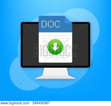 Doc File Icon. Spreadsheet Document Type. Modern Flat Design Graphic Illustration. Vector Doc Icon.