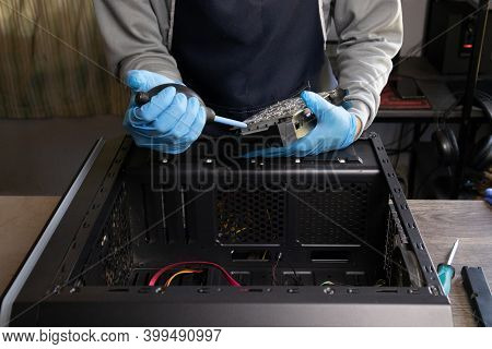 Repairman Cleaning Computer Hardware, Computer Maintenance, Copy Space.