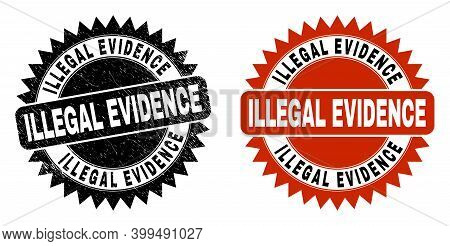 Black Rosette Illegal Evidence Seal Stamp. Flat Vector Textured Stamp With Illegal Evidence Phrase I