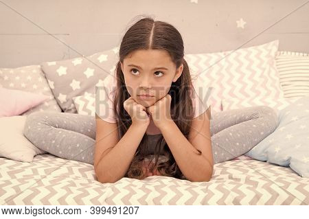 Relaxation Exercises For Falling Asleep. Little Girl In Pajamas Get Ready For Bedtime. Calming Activ