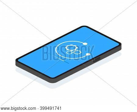 Data Update Or Synchronize With Bar Process. Update On Laptop And Smartphone. Isometric Illustration