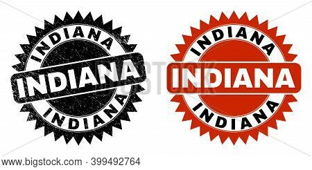 Black Rosette Indiana Seal Stamp. Flat Vector Distress Seal Stamp With Indiana Title Inside Sharp Ro