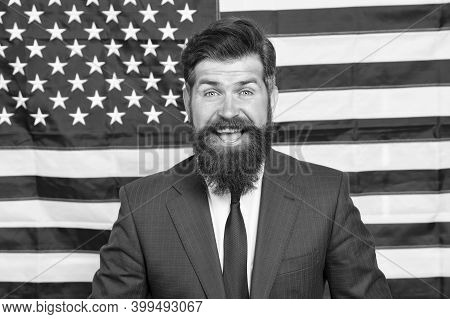 Proud Of Motherland. American Citizen. Happy Celebration Of Victory. Bearded Hipster Man Being Patri