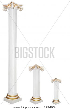 Set Of Three Greek Columns Of Diffirent Sizes With Gold Borders
