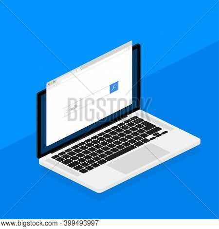 Browser Window In Laptop Vector Illustration. Browser Or Web Browser In Flat Style. Window Concept I