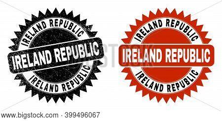 Black Rosette Ireland Republic Seal. Flat Vector Grunge Seal With Ireland Republic Title Inside Shar