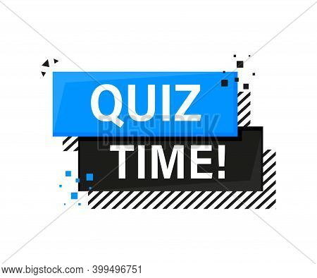 Quiz Time Blue Banner In 3d Style On White Background. Vector Illustration.