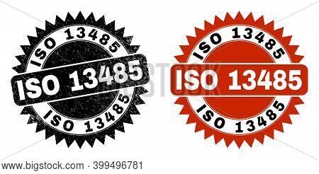 Black Rosette Iso 13485 Watermark. Flat Vector Distress Watermark With Iso 13485 Caption Inside Shar