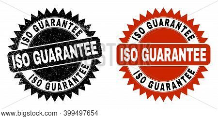 Black Rosette Iso Guarantee Stamp. Flat Vector Grunge Watermark With Iso Guarantee Title Inside Shar
