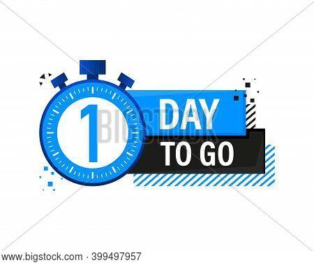 One Day To Go Timer Label, Blue Emblem Banner. Vector Illustration.