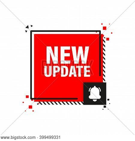 New Update Red Label On White Background. Red Banner. Vector Illustration.